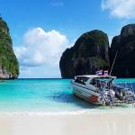 The Beach at Maya Bay - Phi Phi Island in Krabi Province, Thailand.